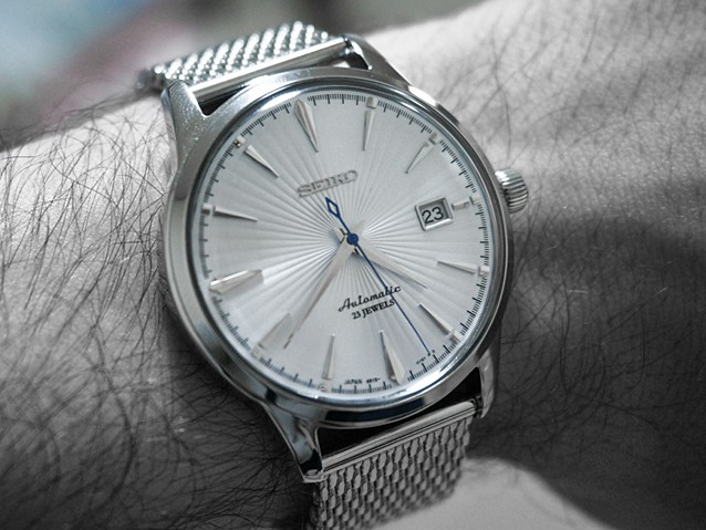 Seiko SARB065 Cocktail Time on Mesh on Wrist