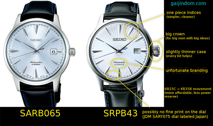 Seiko Cocktail Time Comparison Presage vs SARB065