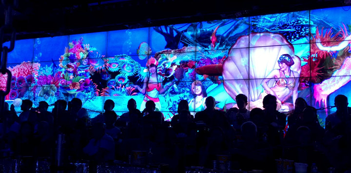 One of the Enormous Screens at Robot Restaurant